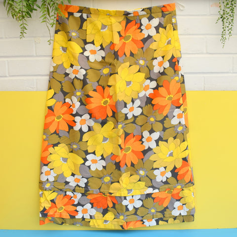 Vintage 1960s Fabric / Maxi Skirt - Flower Power - Orange, Yellow & Grey