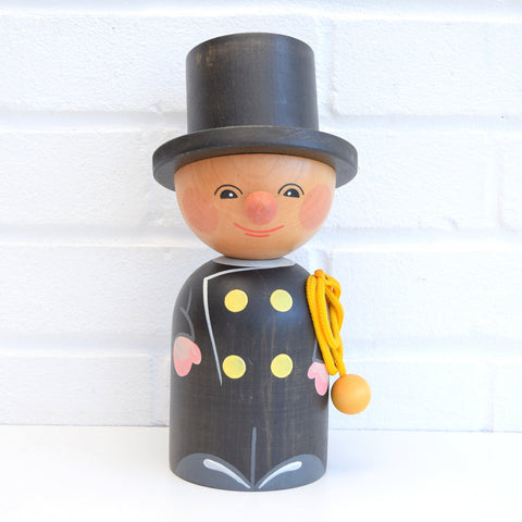 Vintage Swiss Wooden Man Money Box - Top Hat