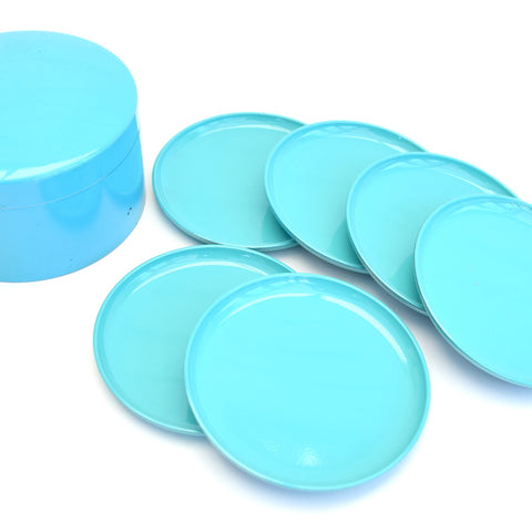 Vintage 1970s Round Lacquered Coasters x6, Turquoise Blue