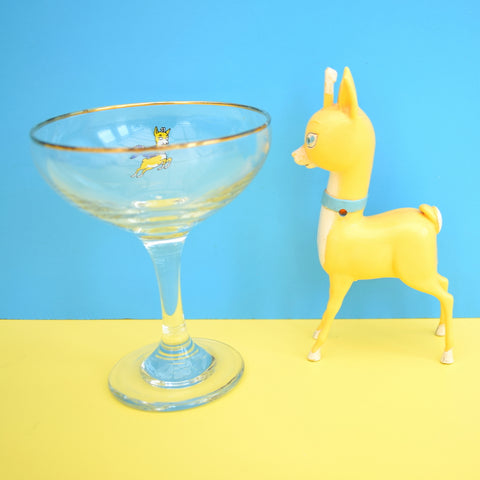 Vintage 1970s Single Babycham Glass & Fawn - Home Bar