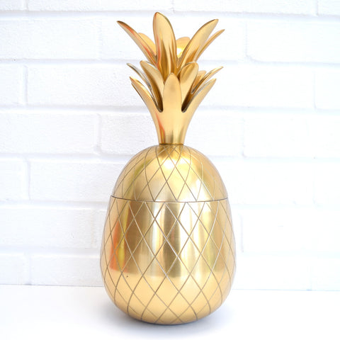 New Retro Large Metal Pineapple Ice Bucket / Ornament, Brass