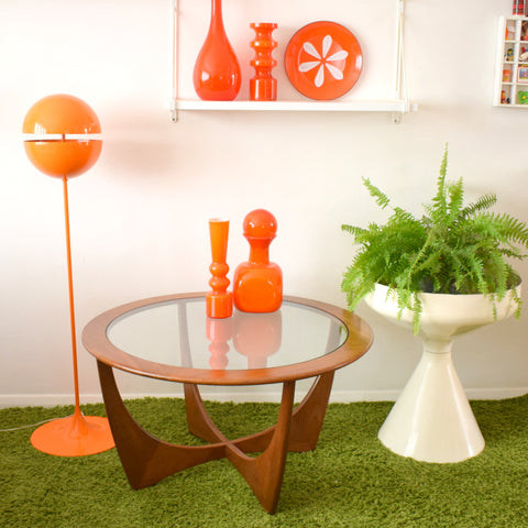 Vintage 1960s G Plan Astro Round Coffee Table - Teak / Glass