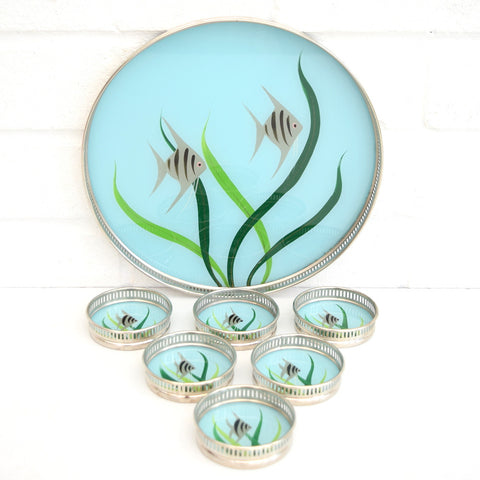 Vintage 1950s Round Glass Set - Coasters x6 & Tray, Fish Design, Blue