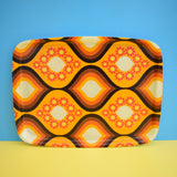 Vintage 1960s Large Geometric Fibreglass Tray - Brown / Orange .