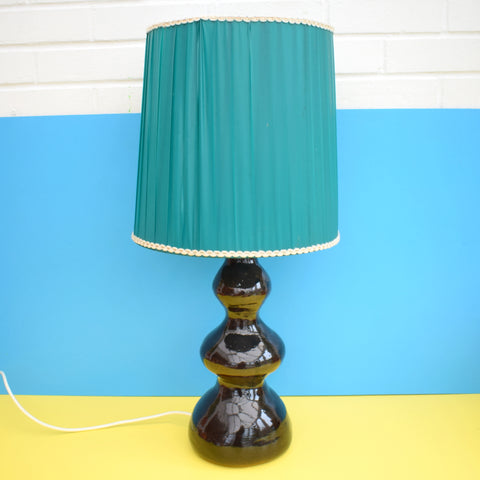 Vintage 1960s Large Ceramic Lamp & Vintage Vinyl Shade - Brown & Turquoise