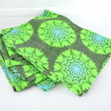 Vintage 1960s Curtains Flower Power,  Green Barkcloth
