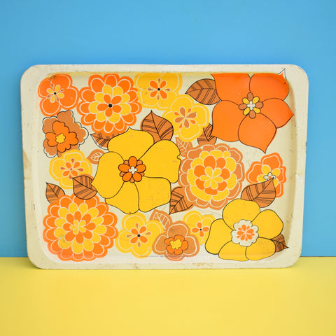 Vintage 1960s Flower Power Metal Tin Tray - Orange