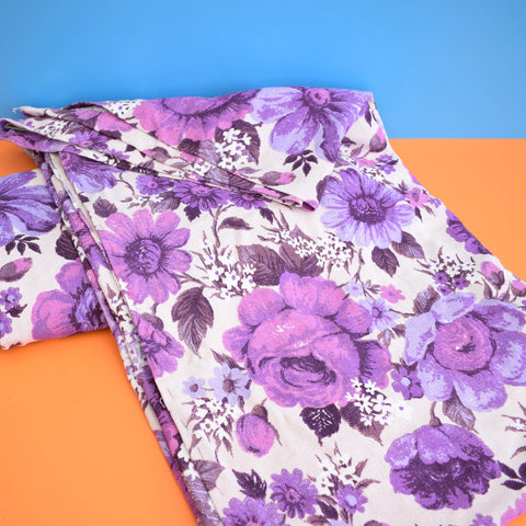 Vintage 1960s Woven Cotton Curtains - Flower Power - Purple