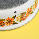 Vintage 1960s Enamel Sauce Pans - Orange & Green Flower Power