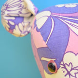 Vintage 1960s Fabric Wall Mounted Elephant Or Teddy Bear Head - Handmade - Purple