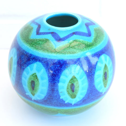Vintage 1960s Bellini Italian Ceramic Ball Vase, Blue / Green