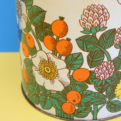 Vintage 1960s Large Metal Tin - Butterfly & Flower Design - Orange , Green & Yellow