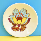 Vintage 1970s Flower Power Plates - Washington Pottery - Red, Orange, Yellow, Blue, Purple.