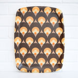 Vintage 1960s Flower Power Fibreglass Tray - Brown / Orange