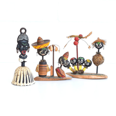 Vintage 1950s Wooden Tribal Figures / Bell