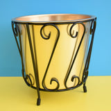 Vintage 1960s Atomic Waste Paper Bin / Planter - Anodised Gold & Black