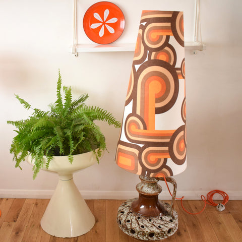 Vintage 1960s Floor Lamp - West German Base - Geometric Orange & Brown Shade