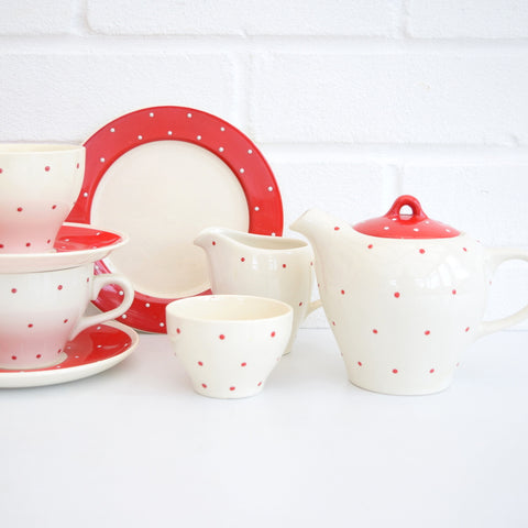 Vintage 1950s Wade China Red Polka Dot Tea Set, Red Spotty