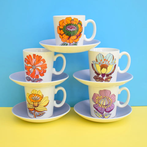 Vintage 1970s Flower Power Cups & Saucers - Washington Pottery - Red, Orange, Yellow, Blue, Purple
