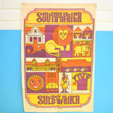 Vintage 1960s Cotton Tea Towel - South Africa - Wall Art