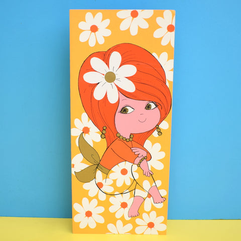 Vintage American 1970s Greeting Card - Flower Child - Orange & Yellow