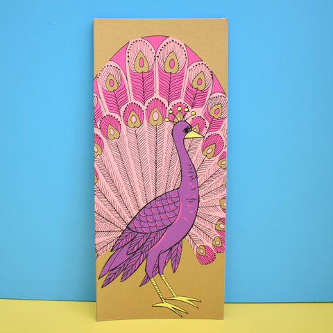 Vintage American 1970s Greeting Card - Peacock - Purple