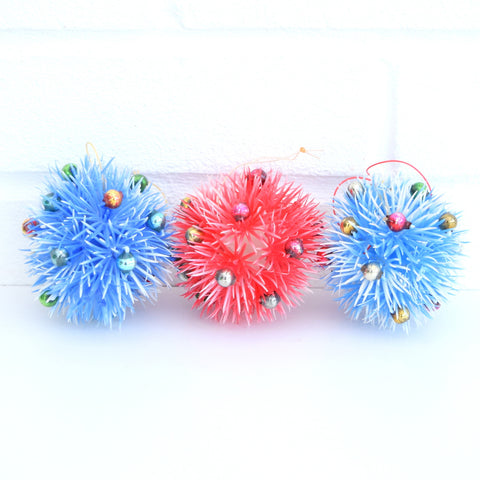 Vintage 1960s Plastic Spiked Christmas Baubles / Decorations Blue & Red