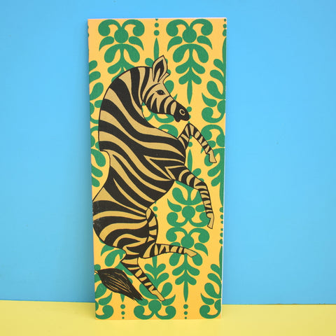 Vintage American 1970s Greeting Card - Zebra - Green