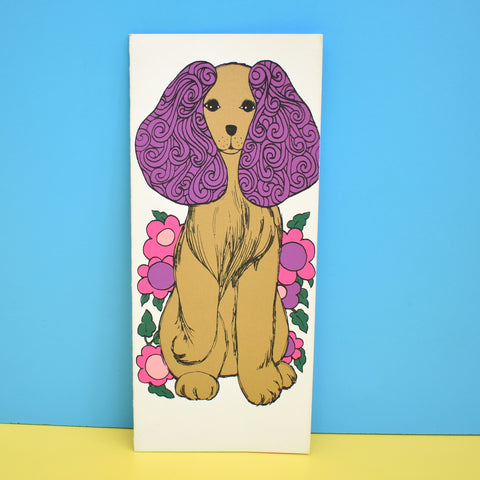 Vintage American 1970s Greeting Card - Dog - Purple