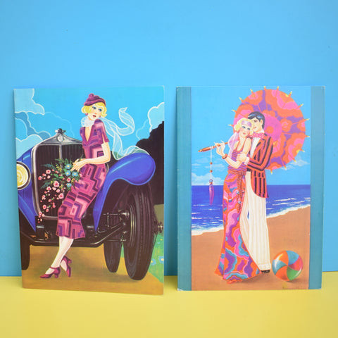Vintage 1970s Greeting Cards - by Paolo Romanelli - Lido & Bugatti - Art Deco Style