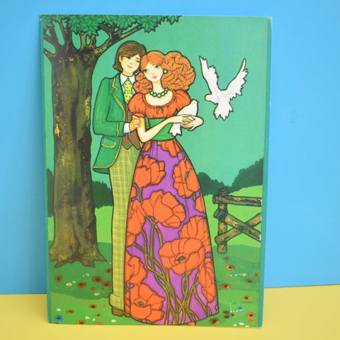 Vintage 1970s Greeting Card - by Paolo Romanelli - Couple With Doves