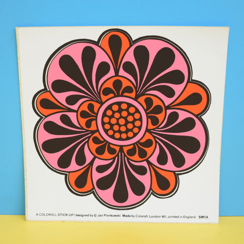 Vintage 1970s Sticker - by Jan Pienkowski - Large Flower Design - Pink/ Red