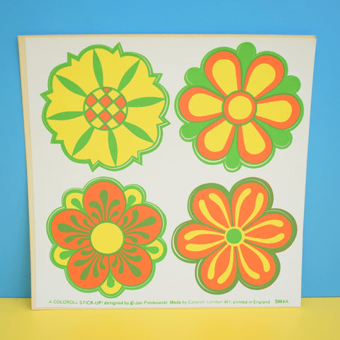 Vintage 1970s Sticker - by Jan Pienkowski - Set of 4 Small Flower Design, Orange / Yellow & Green
