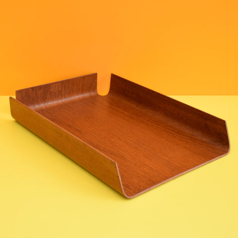 Vintage 1960s Bent Teak Plywood filing Desk Tray - Mallod