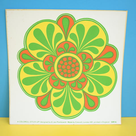 Vintage 1970s Sticker - by Jan Pienkowski - Large Flower Design - Green/ Yellow