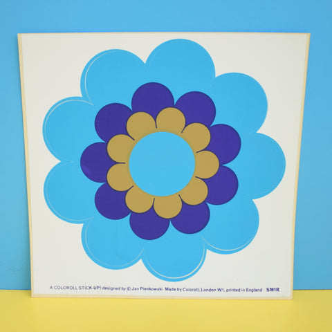 Vintage 1970s Sticker - by Jan Pienkowski - Large Daisy Flower Design - Blue