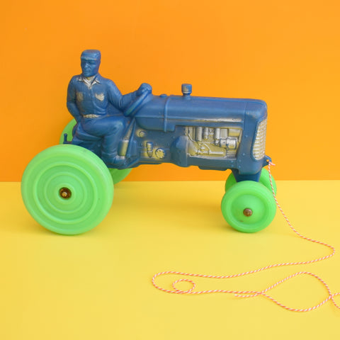 Vintage 1960s Plastic Pull Along Tractor - Blue