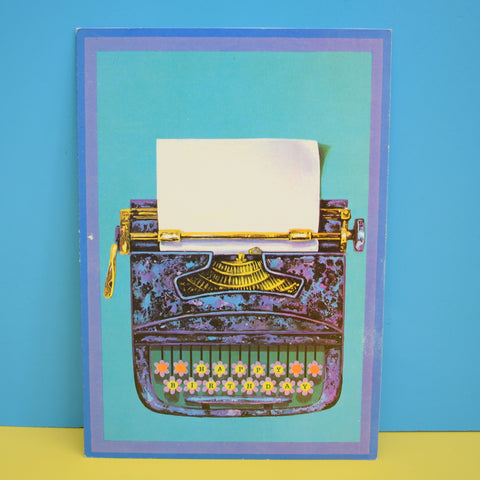 Vintage 1970s Greeting Card - by Paolo Romanelli - Typewriter - Blue / Purple