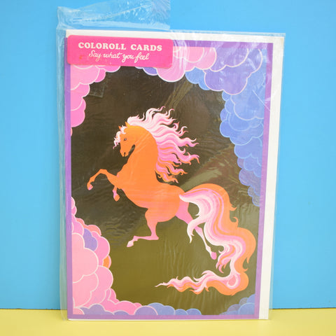 Vintage 1970s Greeting Card - by Paolo Romanelli - Pegasus Horse - Purple / Orange