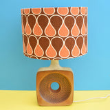 Vintage 1970s Studio Lamp & Vintage Fabric Shade - Grayshott Pottery - Brown