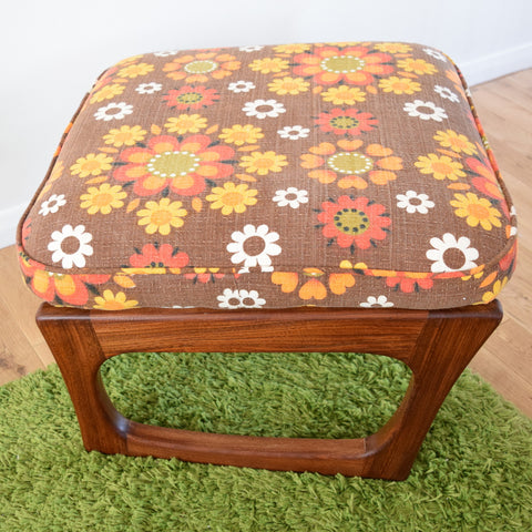 Vintage 1960s Large Teak Wood Adjustable Foot Stool - Orange Flower Power
