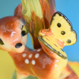 Vintage 1950s Bambi / Butterfly Ceramic Lamp & Fibreglass Shade