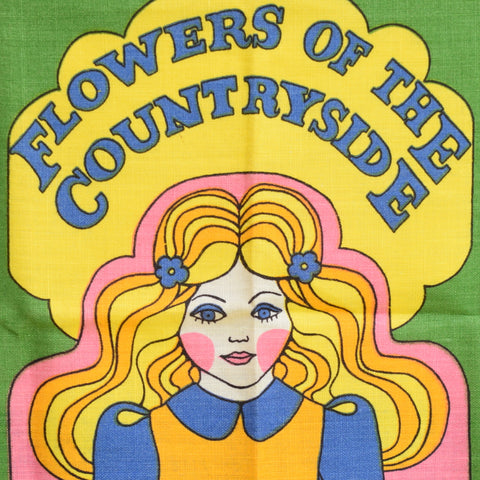 Vintage 1960s Unused Cotton Tea Towel - Flowers Of The Countryside