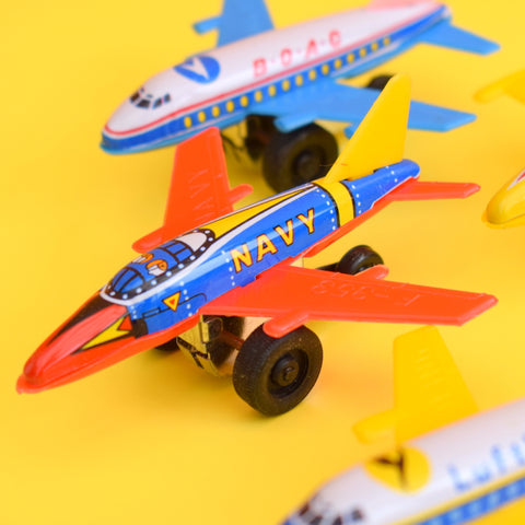 Vintage 1970s Tin Plate Tiny Planes - Boac / Pan Am etc