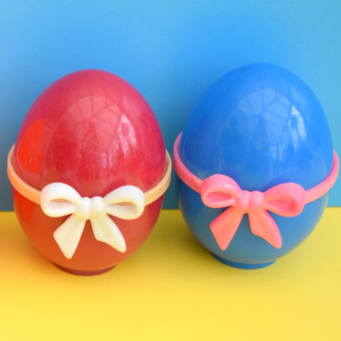 Vintage 1960s Plastic Egg Shaped Gift Boxes - Bright Rainbow Colours With Bows