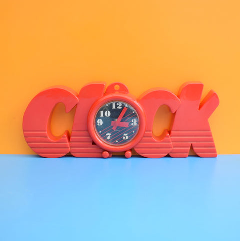 Vintage 1980s CLOCK Word Shaped Wall Clock - Red