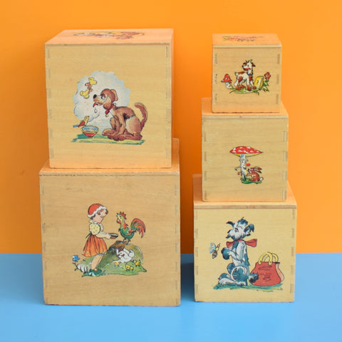 Vintage 1950s Wooden  Nesting / Stacking Boxes - Toadstools
