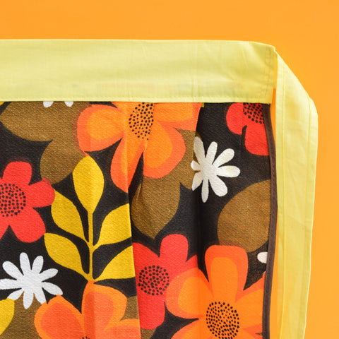Vintage 1960s Flower Power Half Apron / Oven Glove Set - Orange