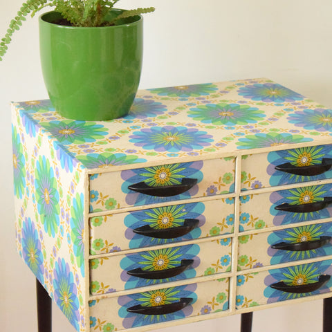 Vintage 1960s Chest of Drawers - Jewellery? - Flower Power - Blue, Green & Purple