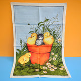 Vintage 1970s Tea Towel - Chicks - Kitsch
